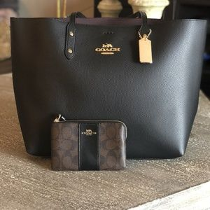 Coach Leather Tote with Wristlet